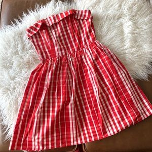 Vineyard Vines strapless Red and white plaid dress